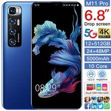 New Global M11 Pro 6.8Inch Mobilephone 10 Core 5000mAh 12+512GB Face Fingerprint Unlock 2SIM Multifunction 5G Android Smartphone