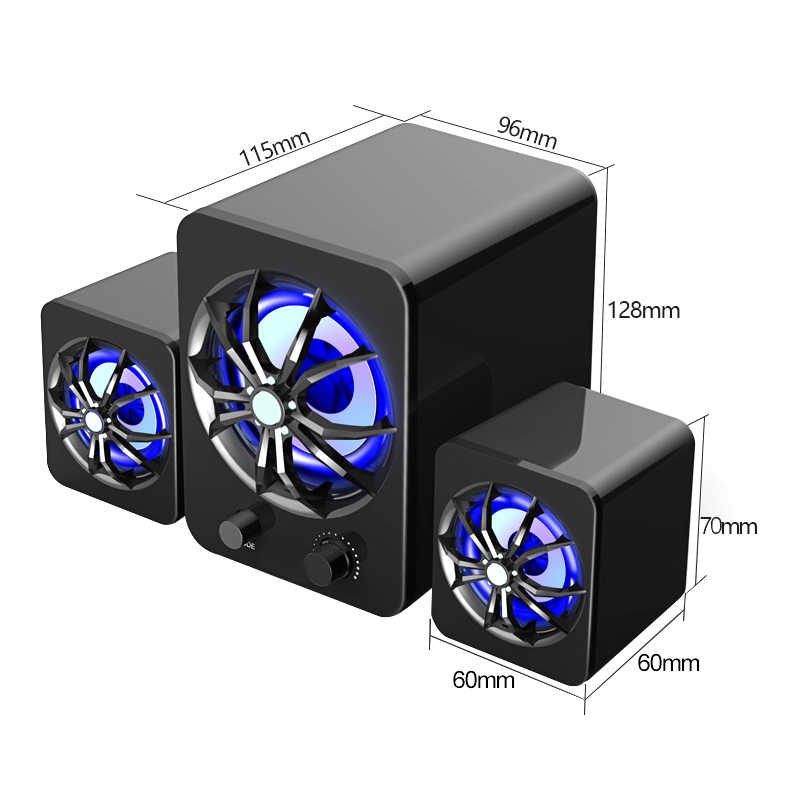 SADA untuk Stereo Laptop Bass Speaker Komputer PC Kabel/Bluetooth Loudspeaker Subwoofer dengan 7 Warna Lampu Atmosfer USB Supply