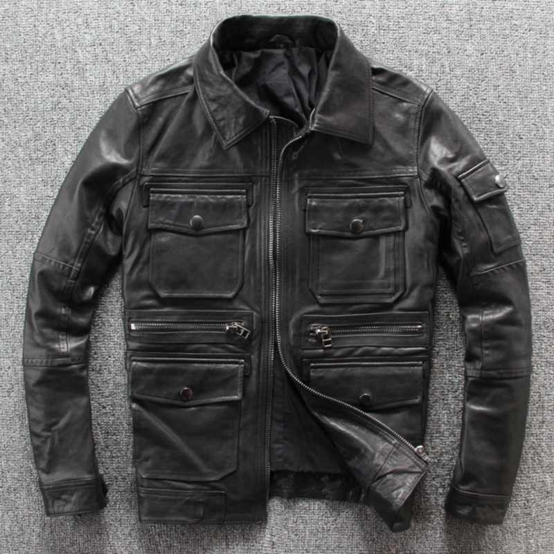 Sonbahar yeni Punck koyun deri Mens Moto Biker koyun derisi Slim Fit Turn Down yaka kısa deri ceket siyah cepler Coat