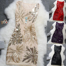 Elegante Vintage Sexy Pailletten Plus Größe Floral Frauen Schwarz Blau Rot Kurz Günstige Cocktail Kleider Coctail Party Kleider