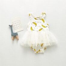 Kids Jumpsuit Romper Banana-Printing Costumes Dress Newborn Baby-Girls Infant Yellow