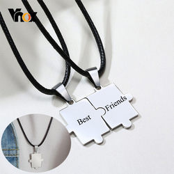 Vnox Personalize Engrave Puzzle Couple Necklaces for Women Men Stainless Steel Never Fade Love BFF Custom Gifts Jewelry