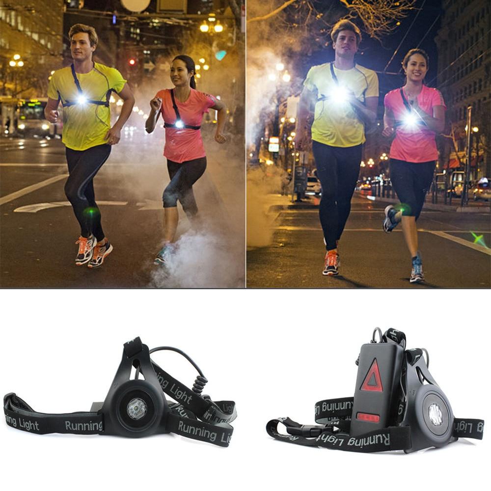 Outdoor Running Lights LED Night Running Flashlight USB Charge Chest Lamp ti