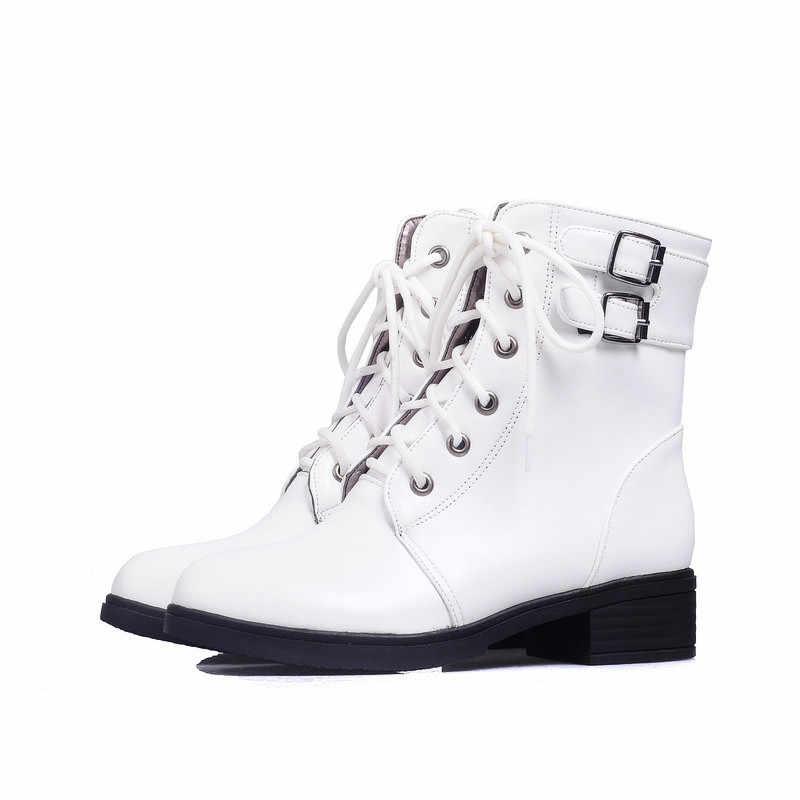 MoonMeek büyük boy 34-43 moda sonbahar kış çizmeler lace up bayanlar yarım çizmeler kare topuklu ayakkabı kadın botları 2020 yeni