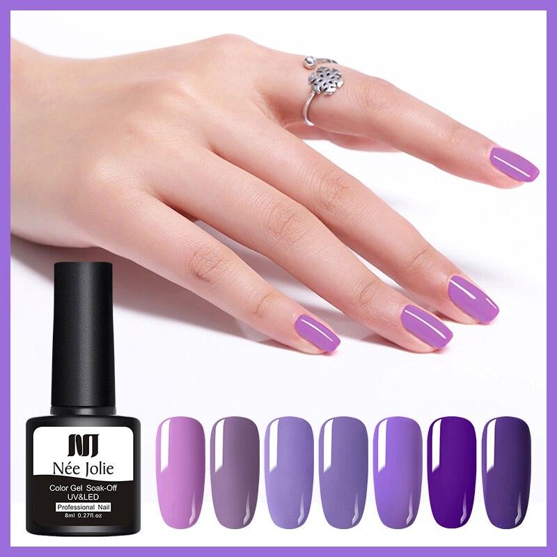 NEE JOLIE 8ml Purple Series Nail Gel Polish Manicure Semi Permanent Vernis UV LED Gel Varnish Soak Off Nail Art Gel Lacquer in Nail Gel from Beauty Health