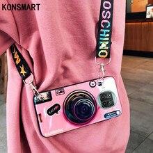 KONSMART 3D Camera Case For Xiaomi Mi 10T Lite 5G Silicone Soft TPU Retro Back Cover Mi 10T Lite Coque Lanyard and Stand holder