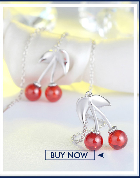 He9cb89968d7f43818e3857fe0fcf3a05t ORSA JEWELS 925 Sterling Silver Red Natural Stone Cherry Pendant Necklaces for Women Genuine Silver Jewelry Necklace Gift SN03