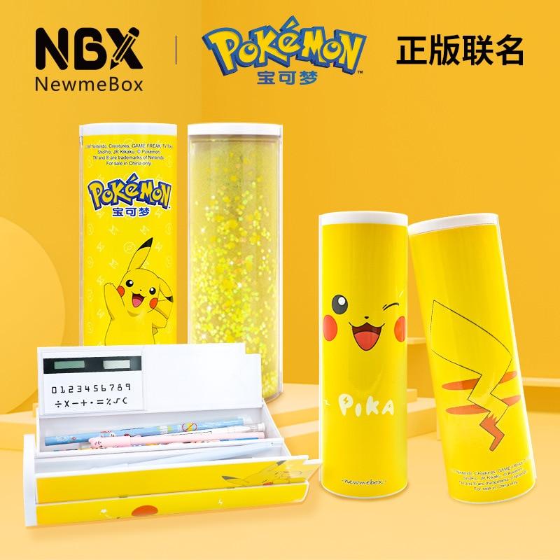 Kawaii Cartoon Pikachu Pencil Case Quicksand Pen Box High Capacity With Solar Calculator Mirror School Supplies Stationery Gift