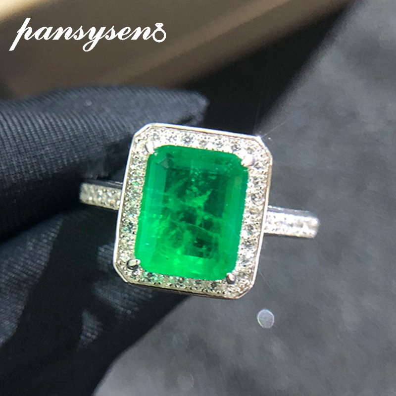 PANSYSEN Vintage Natural Emerald Gemstone Women Rings Top Brand New Wedding Anniversary 925 Sterling Silver Ring Wholesale Gifts
