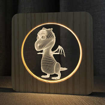 3D Wooden Fire dragon Footprints Shadow LED Wood USB Desk Night Light Christianity Crucifix Crafts Table Lamps Home Decoration - DISCOUNT ITEM  16 OFF All Category
