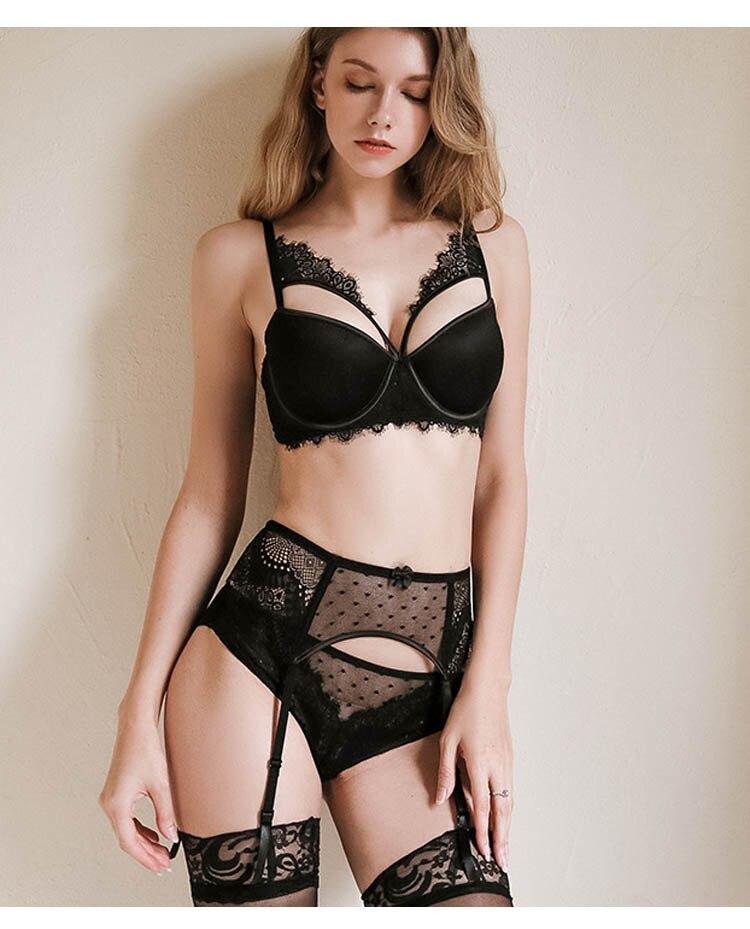 CINOON New Plus Size Underwear Sexy Lingerie Set Push up Bra Set Intimates Temptation Lace bra+panties+garter 3 PcsLots (10)
