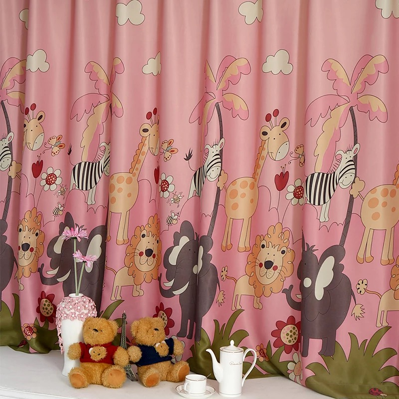Cartoon Cute Lion Finished Blackout Curtains For Kids Children Living Room The Bedroom Window Curtain Panel Drapes WP332&3