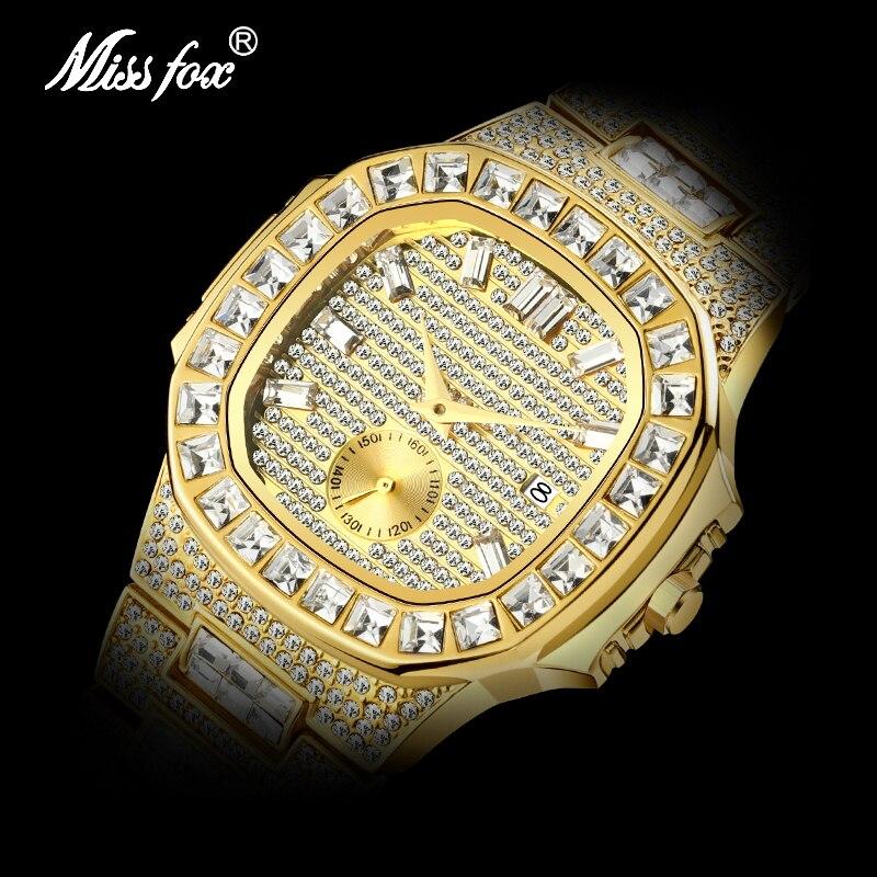 MISSFOX Men's Watches Top Brand Luxury 18k Golden Quartz Watch Men Calendar Men's Waterproof Analog Fashion Diamond Clock 2020
