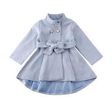 От 1 до 5 лет пальто для маленьких девочек теплая ветровка с бантом на осень и зиму, верхняя одежда, плащ, зимний комбинезон, однотонный синий цвет