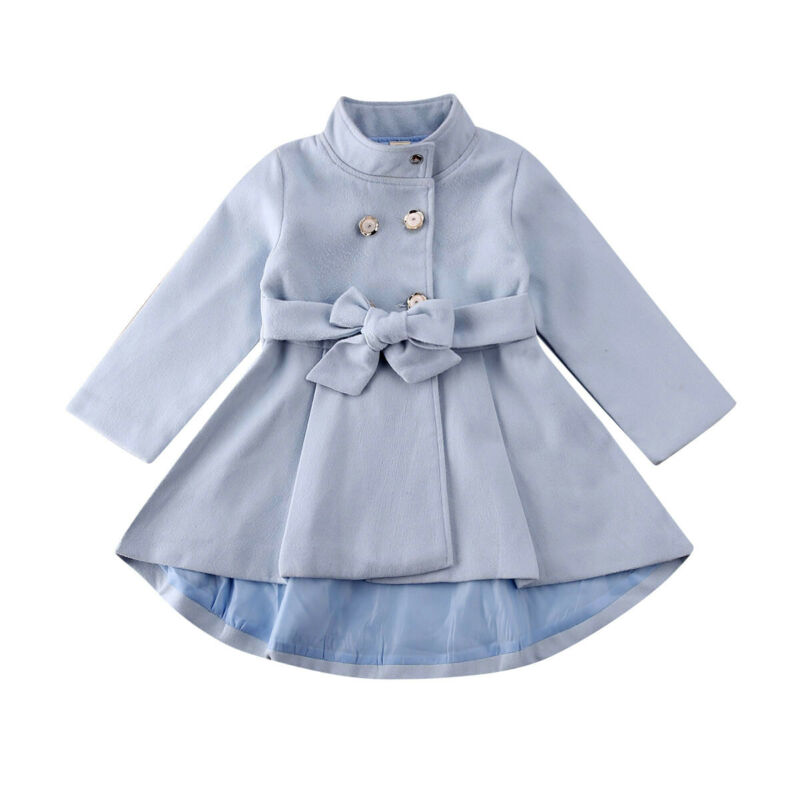 1-5Y Toddler Kid Baby Girl Coat Autumn Winter Warm Windbreaker Bow Outwear Overcoat Raincoat Snowsuit Solid Blue