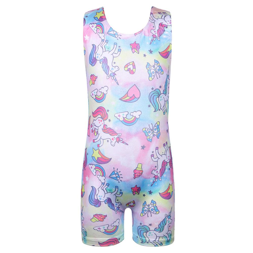 BAOHULU Cute Toddler&Teens Girls Gymnastics Unitards Leotards Horse Rainbow Gymnastic Jumpsuit Kids Skate Competition Costume