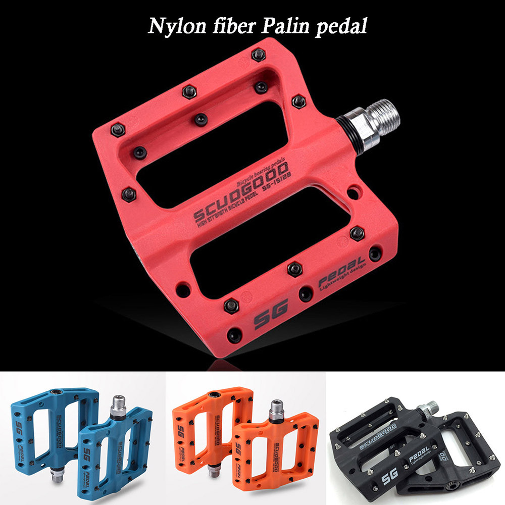 ROCKBROS MTB Bicycle Pedals Nylon Wide Cycling Bearing Pedals Red a Pair