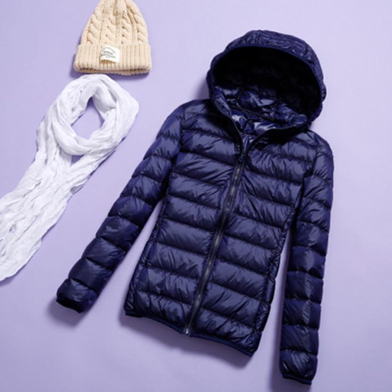 Dark Blue Lady Zipper Winter Warm Duck Down Coat Full Sleeve Down Jacket Snow-outwear Hooded Overcoat Plus Size 4xl 5xl 6xl 7xl