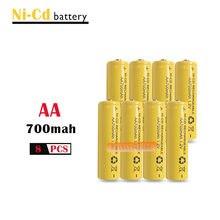 8x aa 700 mah 1.2 v quanlity bateria recarregável NI-CD 1.2 v bateria 2a bateria recarregável baterias 500 vezes