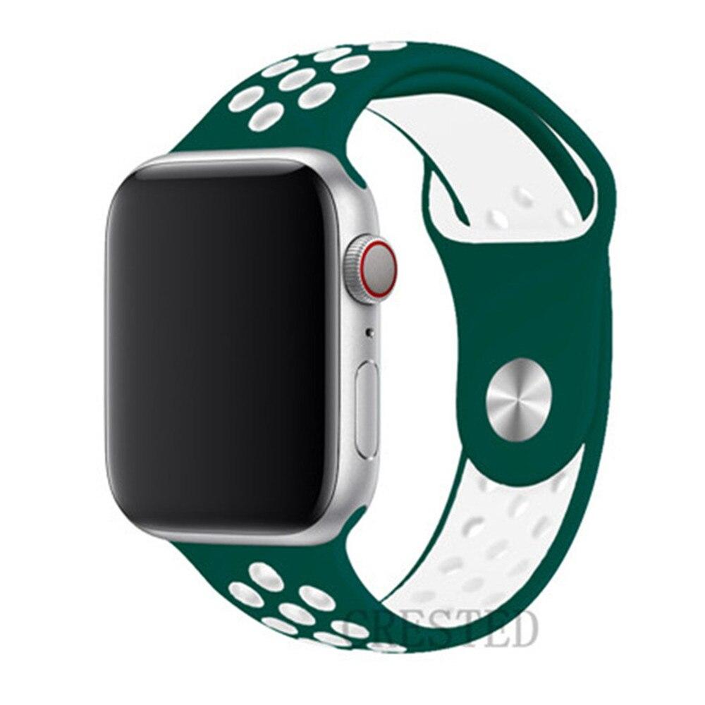 Спортивный ремешок для apple watch band 44 мм/40 мм apple watch 5 4 3 band iwatch band 5 42 мм/38 мм correa браслет ремень аксессуары для часов - Цвет ремешка: Ink green white