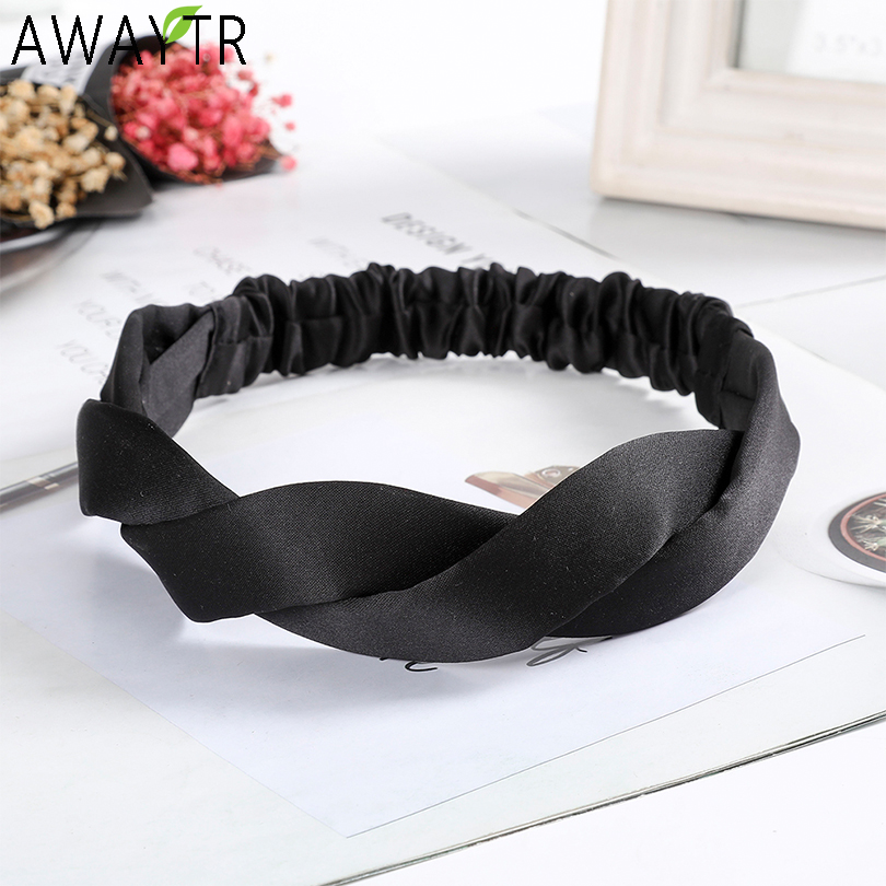 AWAYTR Korean Cross Elastic Hairbands Satin Solid Color Headband Women Makeup Hair Bands Hair Accessories Mujer Headgear