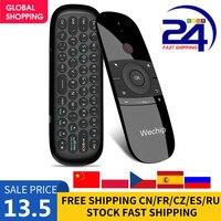 Teclado inalámbrico W1 2,4G Air Mouse, 6 ejes, detección de movimiento IR, Control remoto de aprendizaje con receptor USB para Smart TV, Android TV BOX