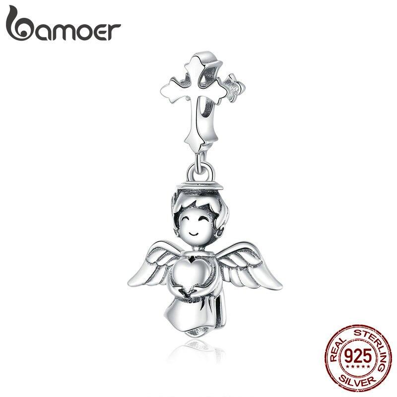 Bamoer 100% 925 Sterling Silver Sorrindo Anjo Beads Pingente Charme para As Mulheres Pulseira De Prata Originais ou Neckalce Jóias BSC316