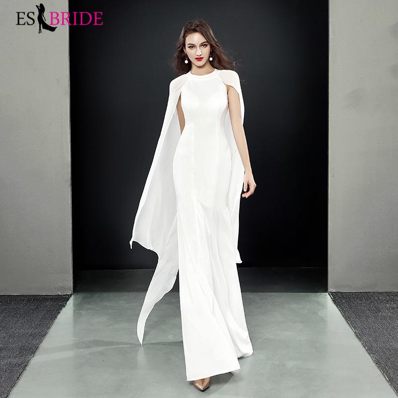 Fashion White Long Prom Dresses 2019 ES1938-1 A-Line O-Neck Shawl Sleeves Elegant Women Formal Dresses Vestidos De Gala