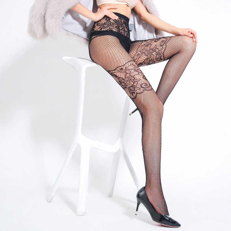 HSS 中空女性アウトセクシーな女性のストッキングメッシュ入れ墨ジャカード高網タイツ刺繍透明黒のレースのストッキング
