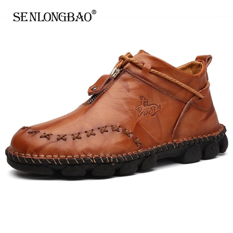 Nova marca primavera outono moda masculina sapatos masculinos confortáveis sapatos casuais sapatos masculinos mocassins de couro sapatos planos tamanho grande 38-48