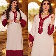 AB023 Kebaya Muslim Line Woman Long Dress Female Arabic Prayer Modest Clothing World Apparel Store White And Red Patchwork Eid