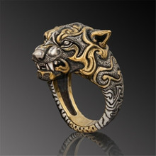 Personality Domineering Tiger Head Ring Men's Punk Animal Ring Hip Hop Jewelry Motorcycle Party Male Biker Ring Accessories gorilla ring animal ring rise of the planet of the apes punk biker caesar ring for man fashion vintage personality jewelry j2811