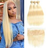 Mesariel, перуанские прямые человеческие волосы, пряди с фронтальной частью, 13*4 м, волосы Remy блонд, плетение, 3 пряди, с фронтальной кружевной зас...