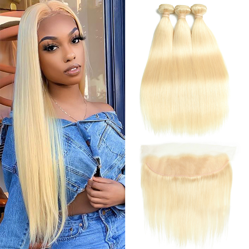 Mesariel Human-Hair-Bundles Hair Weave Closure Frontal Blonde Straight 613 Peruvian  title=