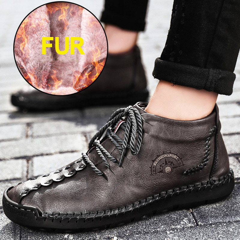 Hot Sale Winter Men's Leather Casual Sneakers Large Size 48 Vintage Frosty Boots High-Top Warm Shoes Khaki Black