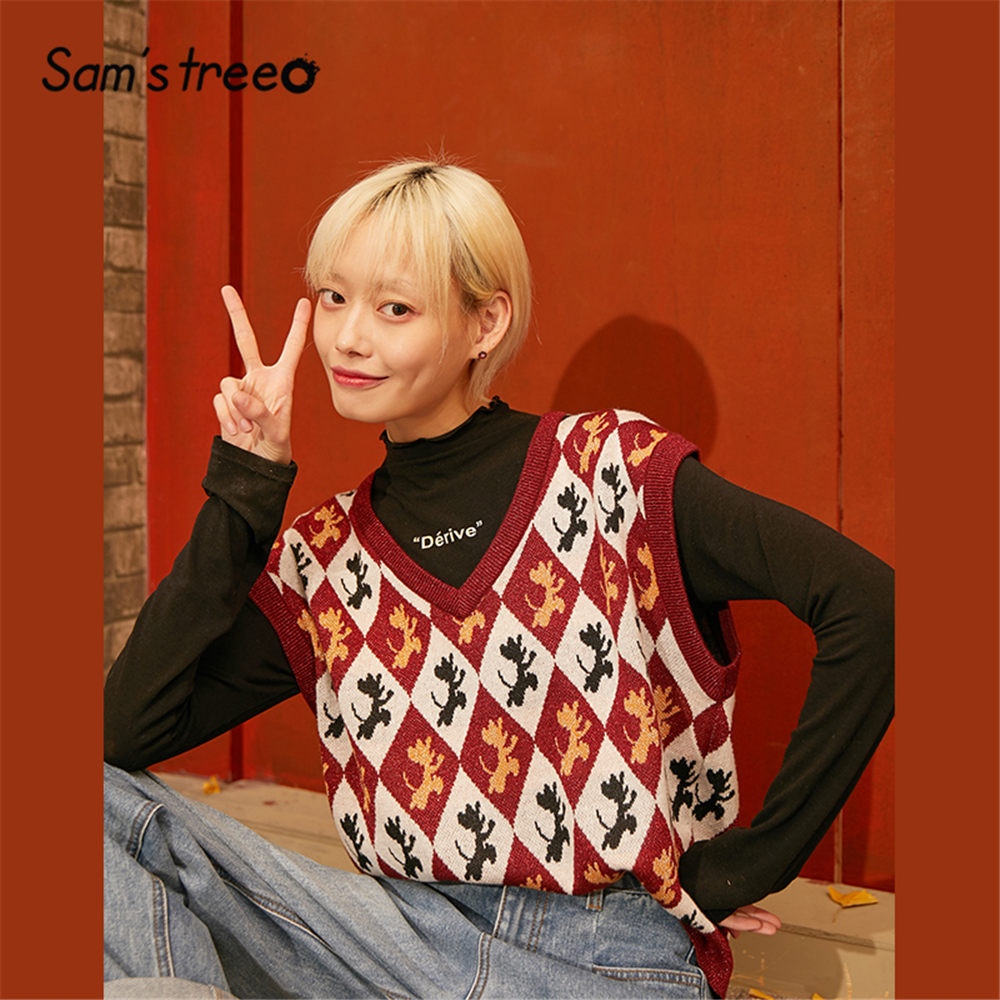 SAM'S TREE Red Argyle Print Pullover Knit Vintage Sweater Vest Women 2020 Spring Korean Sleeveless Casual Ladies Daily Tops