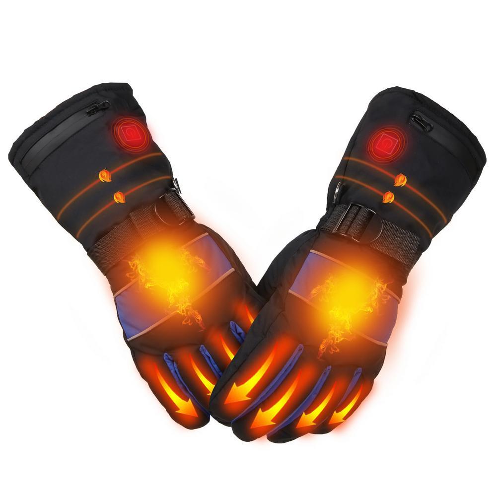 Зимние лыжные перчатки с сенсорным экраном, перезаряжаемые водонепроницаемые грелки для рук, 3 скорости температуры, электрические термопе...