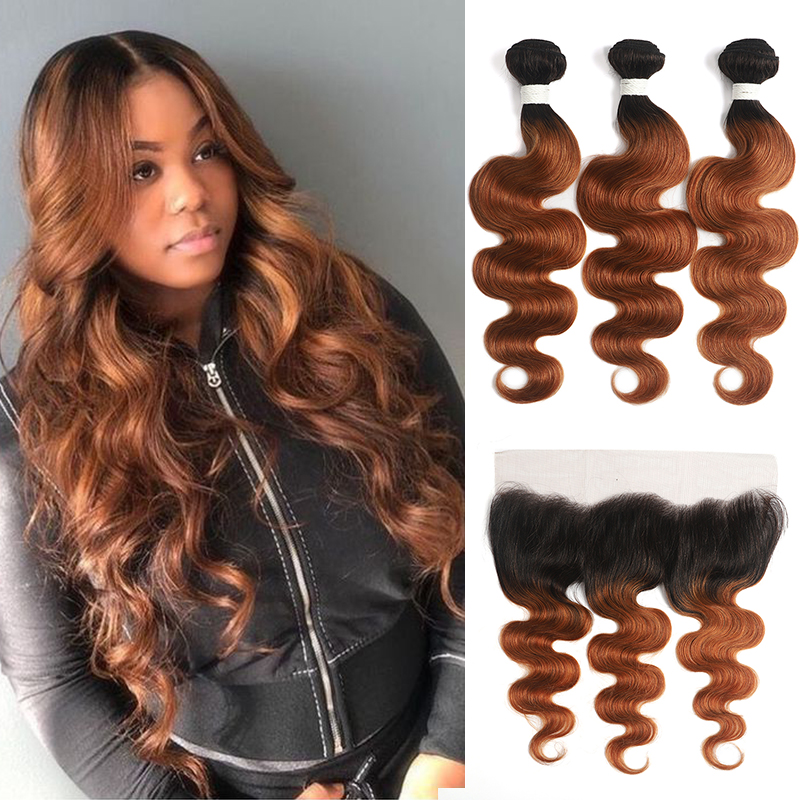 Ombre Brown Bundles With Frontal 13x4 SOKU Brazilian Body Wave Hair Bundles With Closure Non-Remy Human Hair Weave Bundles