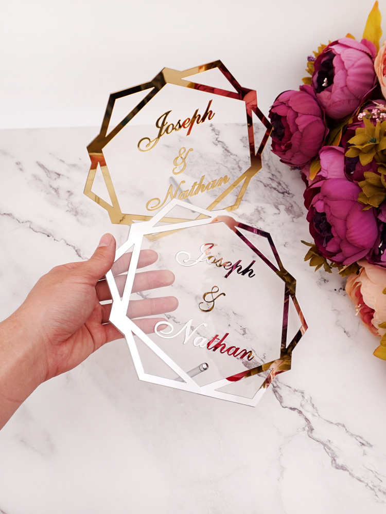Sign Standing Party-Decor Personalized-Mirror-Frame Nail Acrylic-Table Custom Wedding-Name