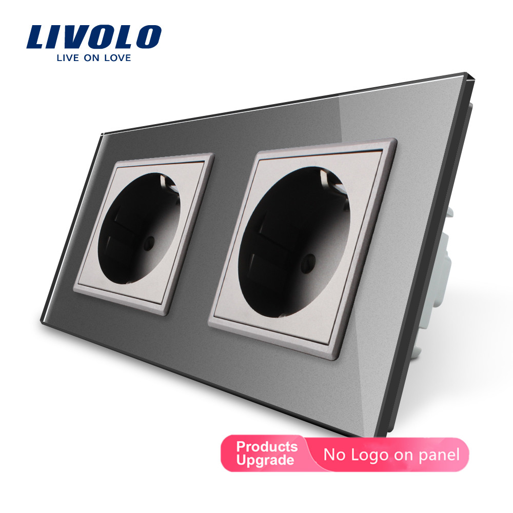Livolo EU Standard Electrical Double Wall Power Socket, 4colors Crystal Glass Panel, 16A  2 Pin Outlet, Butt Plug Socket