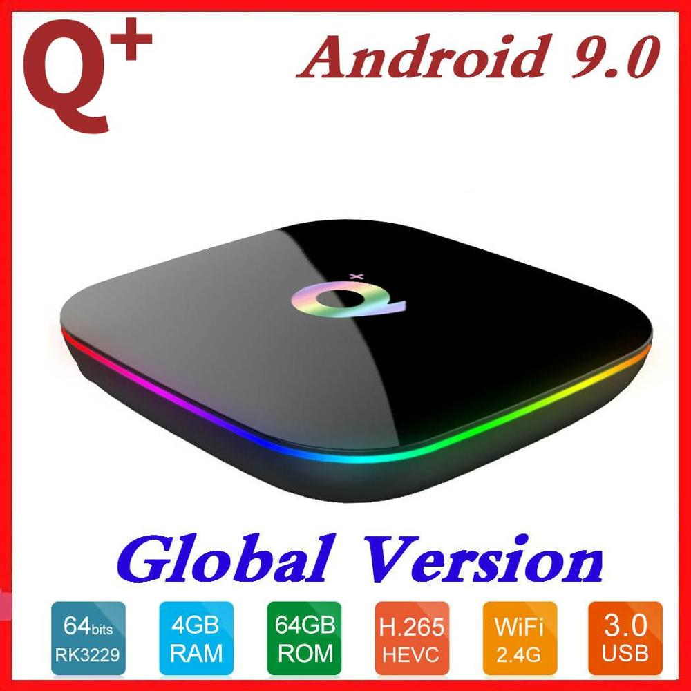 6K Allwinner H6 Smart TV Box Android 9.0 4GB RAM 64GB ROM Quad Core USB3.0 2G16G Wifi Playstore Youtube Q Plus Set Top Box 2019