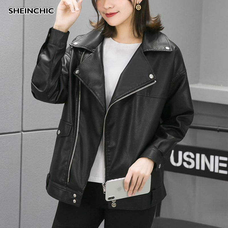 European 2019 Autumn Winter Women Jacket Pu   Leather   Motorcycle Outerwear Coat Casual High Quality Black Biker Jacket Female