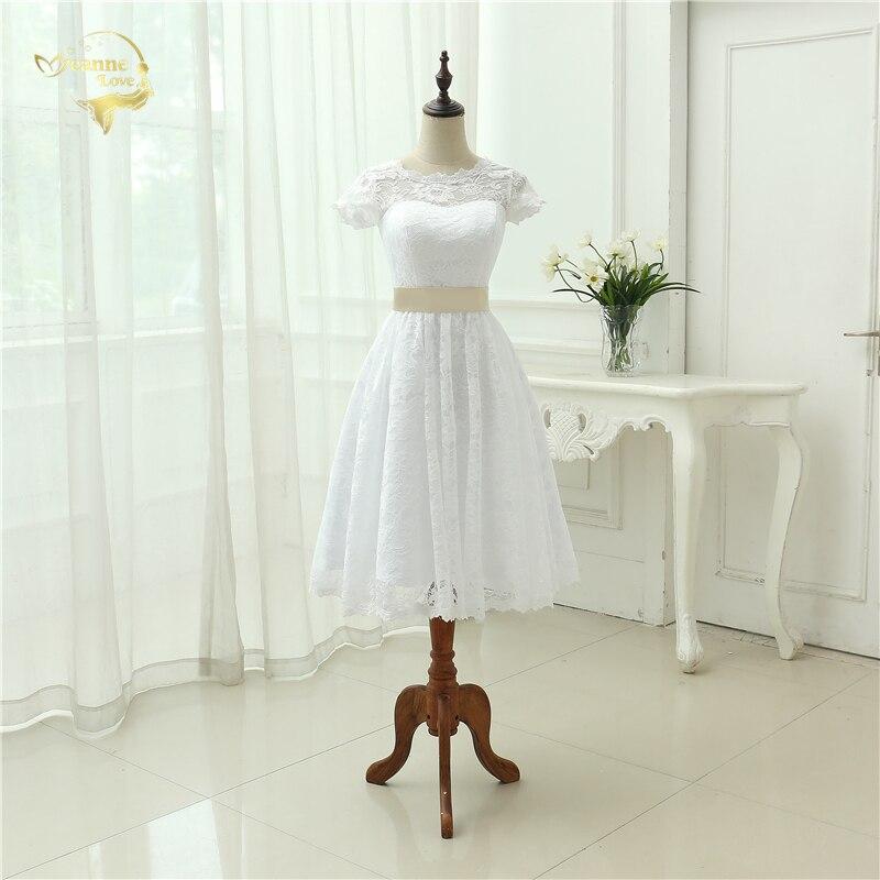 Classical See Through Vestido De Noiva A Line Robe De Mariage Tea Length Lace Short Wedding Dress 2020 Vintage Bridal Gown Y0121