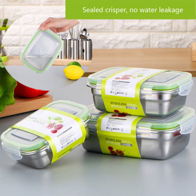 Stainless Steel Thermal Insulated Lunch Box Bento Food Container Layer Storage Boxe