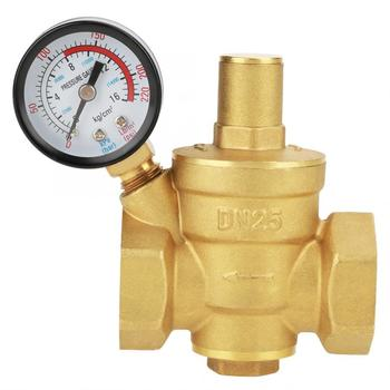 DN25 32mm Brass 0.05-0.8Mpa Adjustable Water Pressure Reducer Valve Flow Meter Reducing Maintaining Regulator With Gauge Meter dn20 3 4 brass water pressure reducing maintaining valves regulator mayitr adjustable relief valves with gauge meter 85 63mm