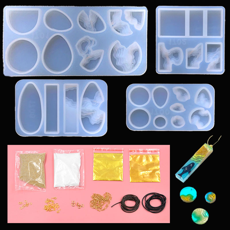 Seashore Silicone Mold Craft Kit Nature Coastline Mold Resin Jewellery DIY Summer Beach Landscape Mold UV Resin Pendant Mold Set