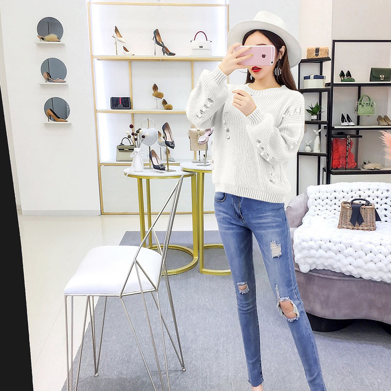 Europe And America Hipster Versatile Beads Loose-Fit Pullover Sweater + Slim Fit With Holes Tight-Fit Jeans Online Celebrity Two