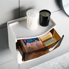 Hanging Tissue Storage Box Guard Free Punching Self-adhesive Plastic Tissue Box Modern Simple Multifunctional Waterproof