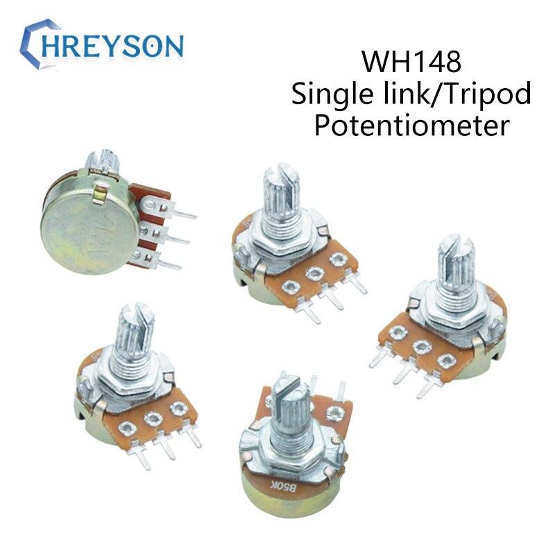 2Pcs WH148 20 10 5 2 1K K K K K K 100K 250K 500K 1 50 M Amplificador Dupla Stereo Potenciômetros Do Eixo B50K B100K B250K B500K B1M 3Pin 15mm