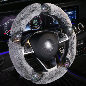 Crystal Winter Plush Auto Car Steering Wheel Covers Creative Diamond Handlebar Cover Fit for Women Ladies Girls Car Accessories donyummyjo creative cute cartoon car steering wheel cover winter plush back cat women girls wheel covers car styling decorations